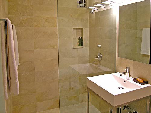 Bathroom ideas from restyle tile stone l l c shakopee new prague mn for Travertine tile bathroom ideas